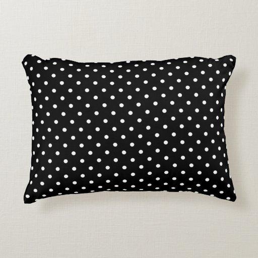 Small Black Decorative Pillow : Chic Small White Polka dots black background Decorative Pillow Zazzle