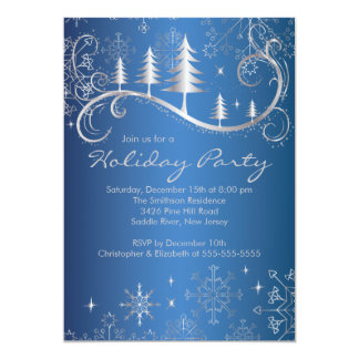 Chic Snowflakes Christmas Trees Holiday Party Personalized Announcements