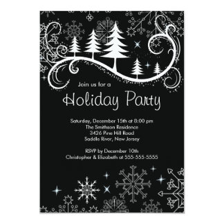 Chic Snowflakes Christmas Trees Holiday Party Personalized Invitation
