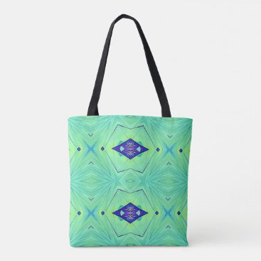 Beach Themed Chic Soft Mint Green Bkg Deep Blue Diamond Shapes Tote Bag