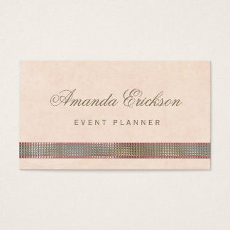 Chic Soft Peach FAUX Sequin Shimmer Event Planner Business Card