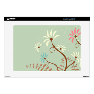 """Chic soft teal + cream floral 15"""" laptop skin"""
