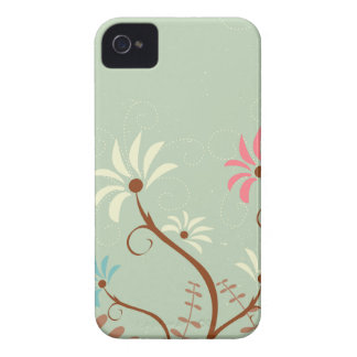 Chic soft teal + cream floral iphone 4 case