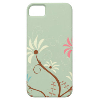 Chic soft teal + cream floral iphone 5 case