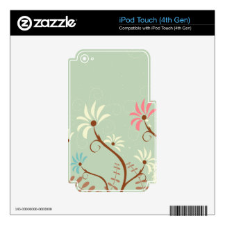 Chic soft teal + cream floral ipod touch skin