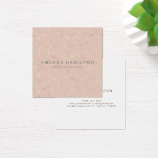Chic sophisticated rose gold hexagon professional square business card