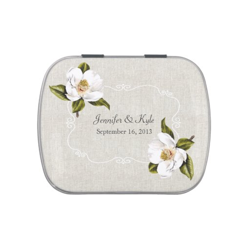 Chic Southern Magnolias Custom Wedding Candy Tin