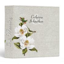 Chic Southern Magnolias & Hummingbirds Wedding 3 Ring Binder