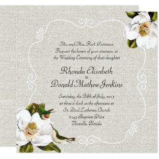 Chic Southern Magnolias & Hummingbirds Wedding Card