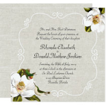 Chic Southern Magnolias & Hummingbirds Wedding Invitation