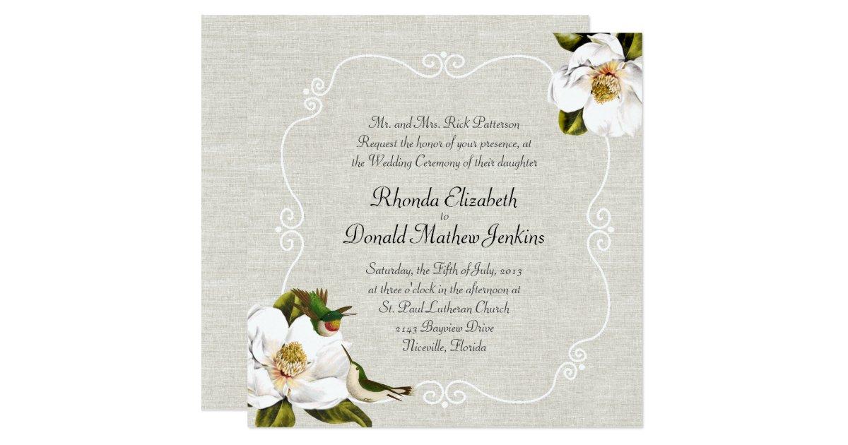Hummingbird Wedding Invitations: Chic Southern Magnolias & Hummingbirds Wedding Invitation