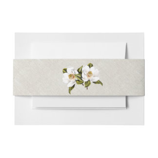 Chic Southern Magnolias Wedding Belly Band Invitation Belly Band