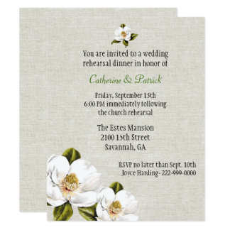 Chic Southern Magnolias Wedding Rehearsal Dinner Card