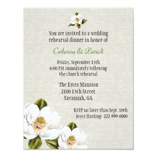 Chic Southern Magnolias Wedding Rehearsal Dinner 4.25x5.5 Paper Invitation Card