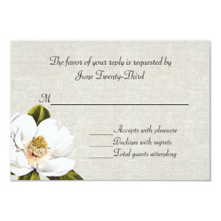 Chic Southern Magnolias Wedding RSVP Response 3.5x5 Paper Invitation Card
