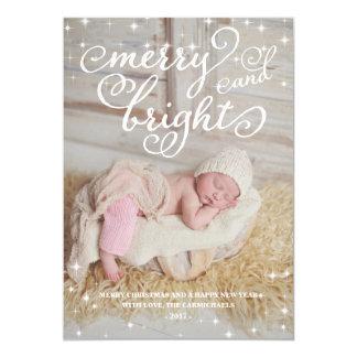 "Chic Sparkling Merry & Bright Holidays Photo Card 5"" X 7"" Invitation Card"