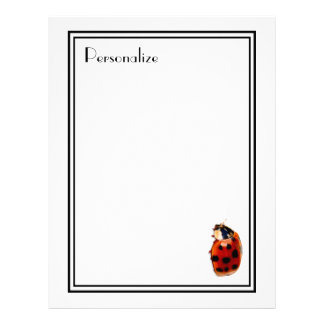 Chic Spotted Ladybug With Name Letterhead