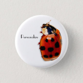 Chic Spotted Ladybug With Name Pinback Button