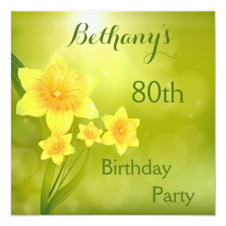 Chic Spring Daffodils Bokeh 80th Birthday Party 5.25x5.25 Square Paper Invitation Card