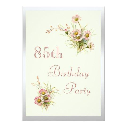 Chic Spring Flowers 85th Birthday Invitation