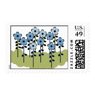 CHIC STAMP_BLUE/GREEN FLORAL POSTAGE