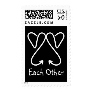 "CHIC STAMP_""LOVE Each Other"" WHITE HEARTS Postage"