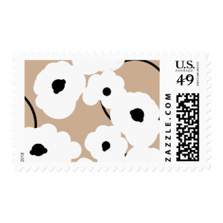 CHIC  STAMP_MOD WHITE & BLACK FLORAL POPPIES POSTAGE