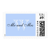 "CHIC STAMP_""Mr and Mrs"" BLACK/WHITE/BLUE Postage"