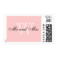 "CHIC STAMP_""Mr and Mrs"" BLACK/WHITE/BLUSH PINK Postage"