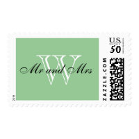 "CHIC STAMP_""Mr and Mrs"" BLACK/WHITE/FRESH GREEN Postage"