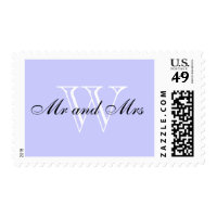 "CHIC STAMP_""Mr and Mrs"" BLACK/WHITE/LGT PERIWINKLE Postage"