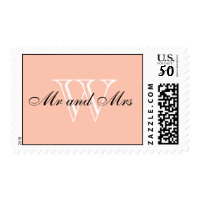 "CHIC STAMP_""Mr and Mrs"" BLACK/WHITE/PEACH Postage"