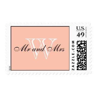 "CHIC STAMP_""Mr and Mrs"" BLACK/WHITE/PEACH Postage Stamp"