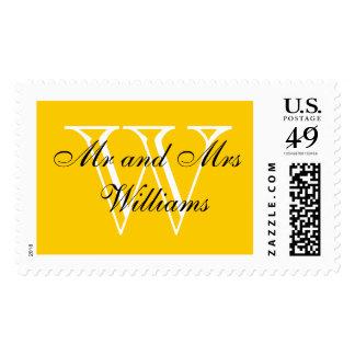 "CHIC STAMP_""Mr and Mrs"" BLACK/WHITE/YELLOW Postage"