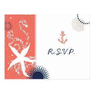 Chic Starfish n Beach Sand Nautical Wedding RSVP Postcard