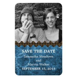 Chic Steampunk Photo Save the Date Magnet, Blue Magnet