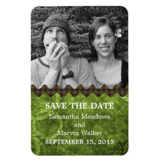 Chic Steampunk Photo Save the Date Magnet, Green Magnet