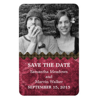Chic Steampunk Photo Save the Date Magnet, Pink Magnet