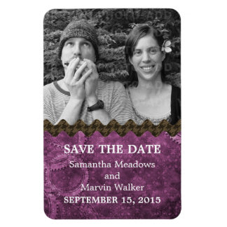 Chic Steampunk Photo Save the Date Magnet, Purple Magnet