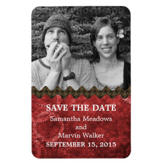 Chic Steampunk Photo Save the Date Magnet, Red Magnet