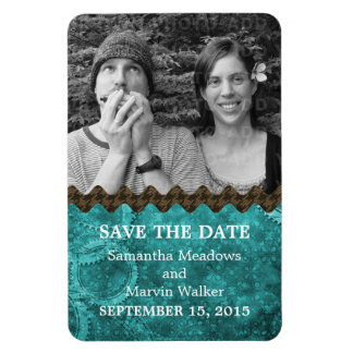 Chic Steampunk Photo Save the Date Magnet, Teal Magnet