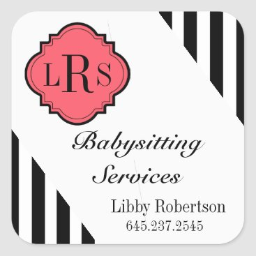 Professional Business CHIC STICKER-BLACK/WHITE STRIPES/ SQUARE STICKER
