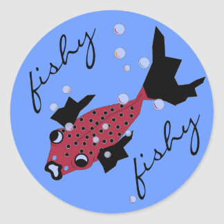 CHIC STICKER_FISHY FISHY SPOTTED RED FISH CLASSIC ROUND STICKER
