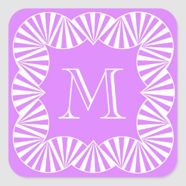 Beach Themed CHIC STICKER_GIRLY 201 LILAC/WHITE RUFFLES SQUARE STICKER