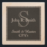 "CHIC STONE COASTER_PERSONAL/BUSINESS_CPA STONE COASTER<br><div class=""desc"">CHIC STONE COASTER_BLACK DOTTED SQUARE TAG #2 DESIGN WITH GREY MONOGRAM AND WHITE NAME AND TEXT.</div>"