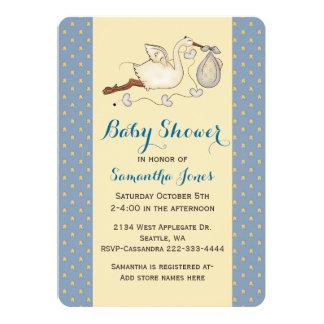 Chic Stork Baby Boy Shower Invitation