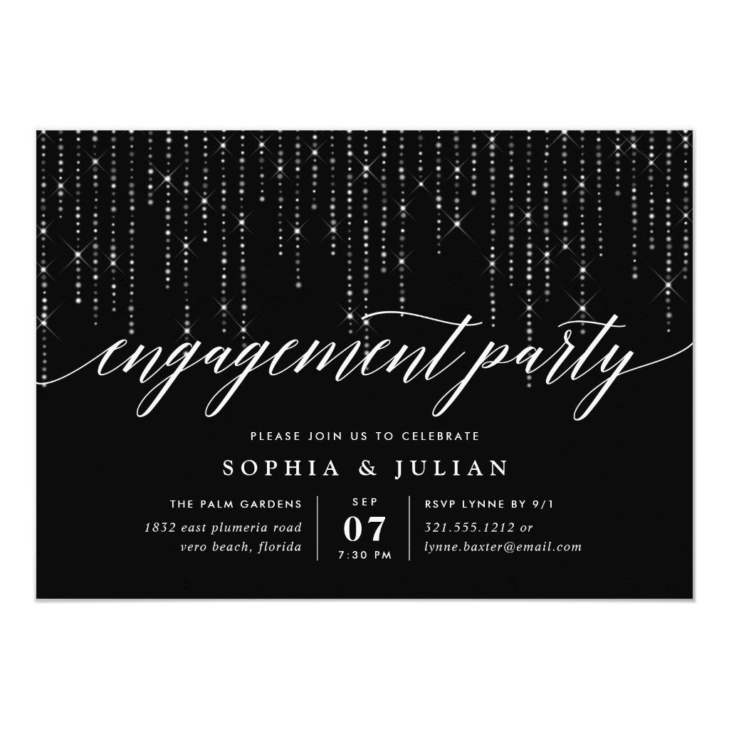 Chic String Lights Engagement Party Invitation