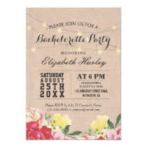 Chic String Lights Linen Floral Bachelorette Party Card