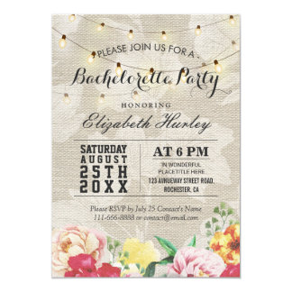 Chic String Lights Linen Floral Bachelorette Party Invitation