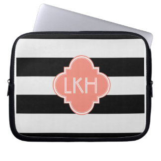 Chic Stripe & Three Monogram Laptop Computer Sleeves